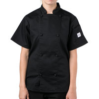 Mercer Culinary Genesis Women's 31 inch XXS Customizable Black Double Breasted Traditional Neck Short Sleeve Chef Jacket with Cloth Knot Buttons