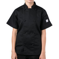 Mercer Culinary M61042BK3X Genesis Women's 49 inch 3X Customizable Black Double Breasted Traditional Neck Short Sleeve Chef Jacket with Cloth Knot Buttons