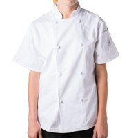 Mercer M61042WHXS Genesis Women's 32 inch XS Customizable White Double Breasted Traditional Neck Short Sleeve Chef Jacket with Cloth Knot Buttons