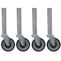 Advance Tabco TA-25G-4 Galvanized Legs with 5 inch Swivel Stem Casters - 4/Set
