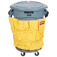 Rubbermaid BRUTE 32 Gallon Gray Trash Can, Lid, Caddy Bag, and Dolly Kit