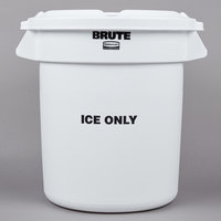 Rubbermaid BRUTE 10 Gallon White ICE ONLY Container and Lid