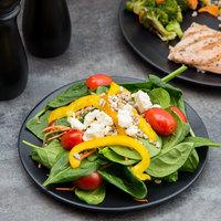 10 Strawberry Street RPPLE-BLKSLD Matte Wave 8 inch Black Salad Stoneware Plate   - 24/Case