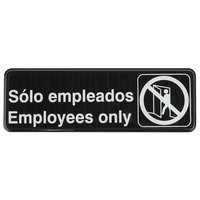 Tablecraft 394586 Solo Empleados / Employees Only - Black and White, 9 inch x 3 inch