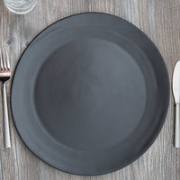 10 Strawberry Street RPPLE-BLKCHRGR Matte Wave 12 3/4 inch Black Charger Stoneware Plate - 12/Case