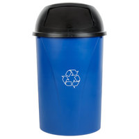 Carlisle Centurian 21 Gallon Blue Half Round Wallhugger Recycling Trash Can and Lid Kit
