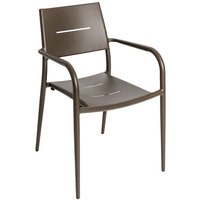 BFM Seating PH901CBZ Hampton Bronze Stackable Aluminum Arm Chair