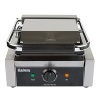 Galaxy P65SG Single Panini Sandwich Grill with Grooved Top and Smooth Bottom Plates - 8 1/2 inch x 8 1/2 inch Cooking Surface - 120V, 1750W