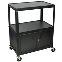 Luxor AVJ42XLC Adjustable Height Black 3 Shelf A/V Cart with Locking Cabinet