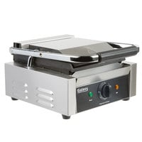 Galaxy P60S Single Panini Sandwich Grill with Smooth Plates - 8 1/2 inch x 8 1/2 inch Cooking Surface - 120V, 1750W