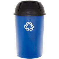 Rubbermaid 69035HFRCKIT Untouchable 21 Gallon Blue Half Round Recycling Container with Lid