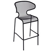 BFM Seating DV560BL Maze Black Stackable Steel Outdoor / Indoor Bar Height Armchair