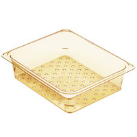Cambro 23CLRHP150 H-Pan 1/2 Size Amber High Heat Colander Pan - 3 inch Deep