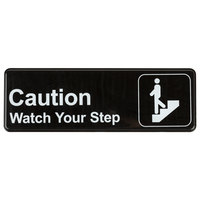 Caution, Watch Your Step Sign - Black and White, 9 inch x 3 inch