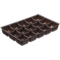 6 7/8 inch x 4 1/4 inch x 7/8 inch Brown 15-Cavity Candy Tray   - 250/Case