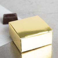 2 1/2 inch x 2 1/2 inch x 1 1/8 inch 1-Piece Gold Foil Candy Box - 250/Case
