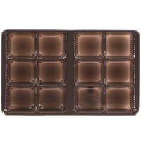 6 7/8 inch x 4 1/4 inch x 7/8 inch Brown 12-Cavity Candy Tray - 250/Case