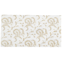 7 1/2 inch x 3 7/8 inch 3-Ply Glassine 1/2 lb. White Candy Box Pad with Gold Floral Pattern   - 250/Case