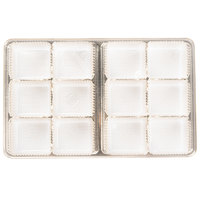 6 7/8 inch x 4 1/4 inch x 7/8 inch Gold 12-Cavity Candy Tray - 250/Case