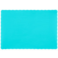 10 inch x 14 inch Teal Colored Paper Placemat with Scalloped Edge - 1000/Case