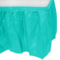 Creative Converting 324768 14' x 29 inch Teal Lagoon Plastic Table Skirt