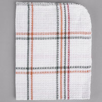 13 inch x 15 inch Red and Black Striped 100% Cotton Waffle-Weave Dish Cloth - 12/Pack