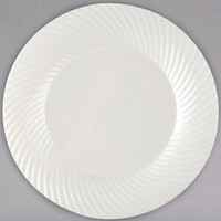Visions Wave 7 inch Bone / Ivory Plastic Plate - 18/Pack