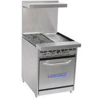 Bakers Pride Restaurant Series 24-BP-2B-G12-S20 Natural Gas 2 Burner Range with Space Saver 20 inch Oven and 12 inch Griddle