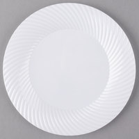 Visions Wave 7 inch White Plastic Plate - 18/Pack
