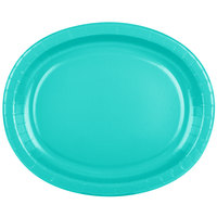 Creative Converting 324773 12 inch x 10 inch Oval Teal Lagoon Paper Platter - 8/Pack
