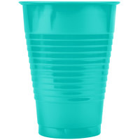 Creative Converting 324780 12 oz. Teal Lagoon Plastic Cup - 20/Pack