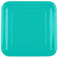 Creative Converting 324774 9 inch Square Teal Lagoon Paper Plate - 18/Pack
