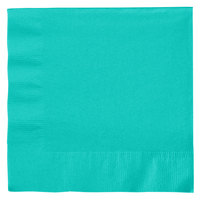 Creative Converting 324770 2-Ply Teal Lagoon 1/4 Fold Luncheon Napkin - 50/Pack