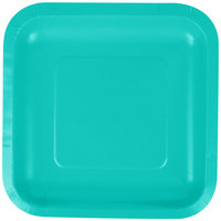 Creative Converting 324781 7 inch Square Teal Lagoon Paper Plate - 18/Pack