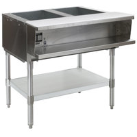 Eagle Group ASWT2 Natural Gas Two Pan Sealed Well Water Bath Steam Table with Stainless Steel Legs
