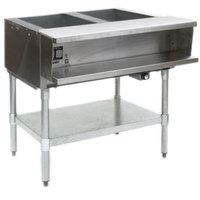 Eagle Group AWTP2 Liquid Propane Two Pan Sealed Well Water Bath Steam Table with Galvanized Legs and Safety Pilot