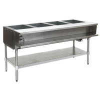 Eagle Group AWTP4 Natural Gas Four Pan Sealed Well Water Bath Steam Table with Galvanized Legs and Safety Pilot