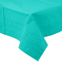 Creative Converting 324764 54 inch x 108 inch Teal Lagoon Tissue / Poly Table Cover
