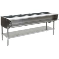 Eagle Group AWTP5 Liquid Propane Five Pan Sealed Well Water Bath Steam Table with Galvanized Legs and Safety Pilot