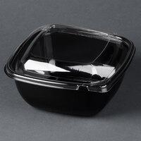 Sabert C98048TR150 Bowl2 48 oz. Black PETE Square Tamper Evident Bowl with Lid - 150 / Case