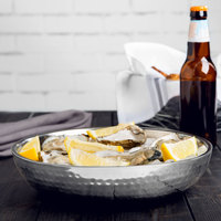 American Metalcraft DWHSEA10 10 inch Stainless Steel Double Wall Hammered Seafood Tray