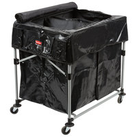 Rubbermaid Laundry Cart, 4 Bushel Deluxe Collapsible 2 Section X-Cart with Black Cover and Extra 4 Bushel Bags