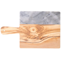 American Metalcraft OWBG15 10 inch x 9 inch Olive Wood and Gray Marble Serving Board