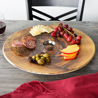 American Metalcraft OWM171 17 1/4 inch Round Melamine Serving Board - Faux Olive Wood