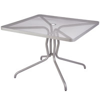 BFM Seating DVN2432TS Nexus 24 inch x 32 inch Titanium Silver Steel Dining Table with Umbrella Hole
