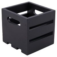 American Metalcraft WTBL6 6 1/4 inch x 5 3/4 inch x 5 3/4 inch Black Wood Crate