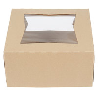 Baker's Mark 8 inch x 8 inch x 4 inch Kraft Auto-Popup Window Cake / Bakery Box - 150/Case