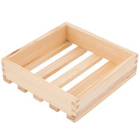 American Metalcraft WCNS 9 inch x 9 inch x 2 3/8 inch Natural Small Wood Crate