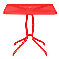 BFM Seating DVN3232GEU Nexus 32 inch Square Grenadine Steel Dining Table with Umbrella Hole