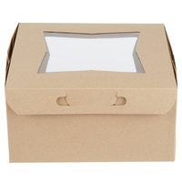 Baker's Mark 10 inch x 10 inch x 5 inch Kraft Window Cake / Bakery Box - 150/Case